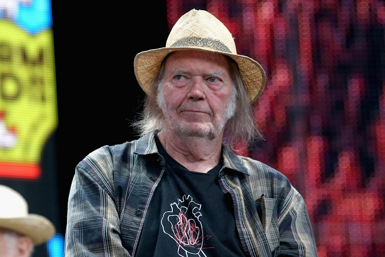 EAST TROY, WISCONSIN - SEPTEMBER 21:  Neil Young attends a press conference for Farm Aid 34 at Alpine Valley Music Theatre on September 21, 2019 in East Troy, Wisconsin.  (Photo by Gary Miller/Getty Images)
