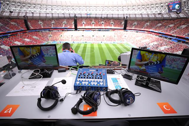 <p>Broadcast around the world: A view from the media centre of the Luzhniki Stadium. </p>