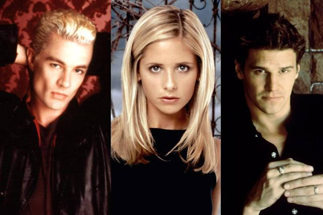From left, Spike (James Marsters), Buffy (Sarah Michelle Gellar), and Angel (David Boreanaz). (Photo: Everett Collection)