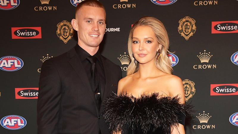 Dayne Beams and wife Kelly, pictured here at the 2018 Brownlow Medal ceremony.