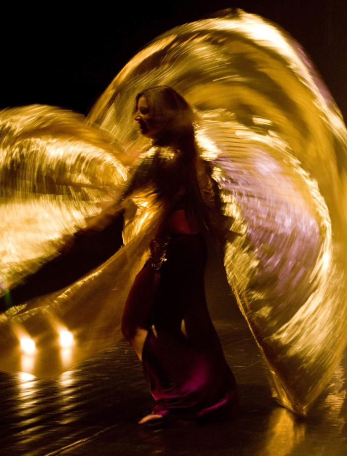 A belly dancer performers during the annual Israeli belly dance competition in Tel Aviv, Israel, Tuesday, Aug. 30, 2011. Twenty Five women from age 8 to 42 participated in the competition. (AP Photo/Ariel Schalit)