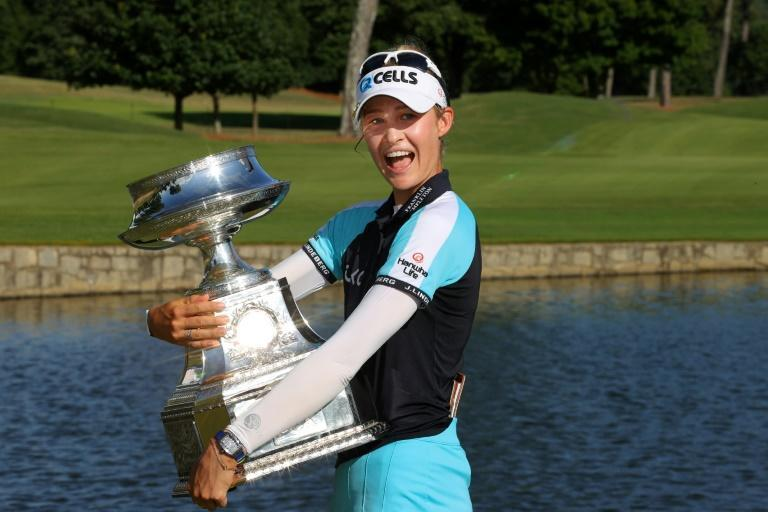 Nelly Korda after winning the Women's PGA Championship for her first major title in June