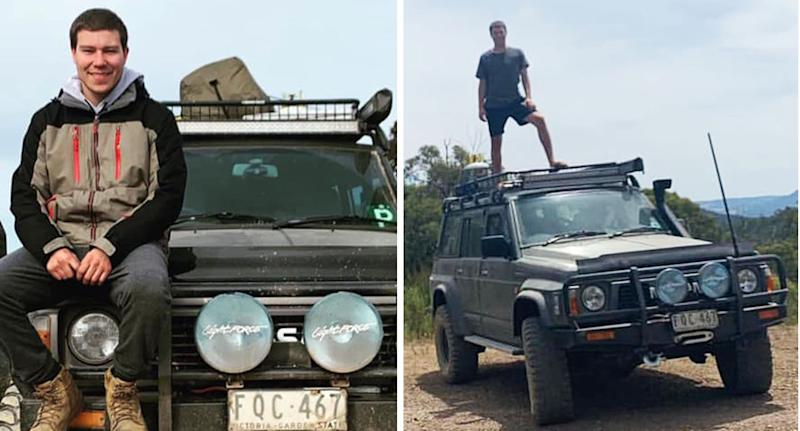 Caleb Forbes, 22, set off on a camping trip near the Thomson Dam in West Gippsland with his Nisan Patrol.
