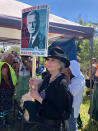 """Activist Jane Fonda joins hundreds of protesters chanting """"Stop Line 3!"""" and """"Water is life!"""" gathered at the headwaters of the Mississippi River in in Solway, Minn., on Monday, June 7, 2021 to resist a Canadian-based company's plan to replace an aging pipeline that carries crude oil from Alberta to Wisconsin. (AP Photo by David Kolpack)"""
