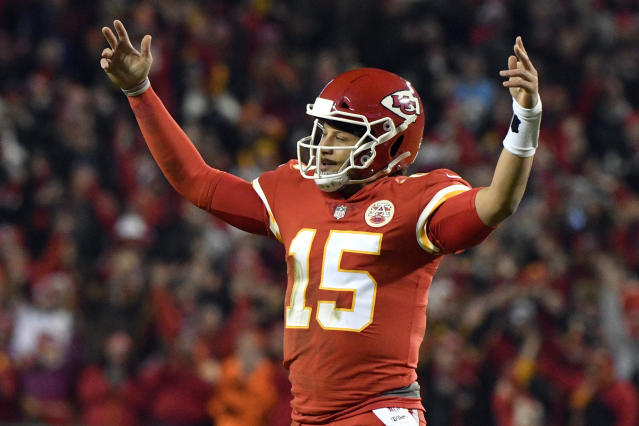 Kansas City Chiefs quarterback Patrick Mahomes will make his first playoff start against the Colts on Saturday. (AP)