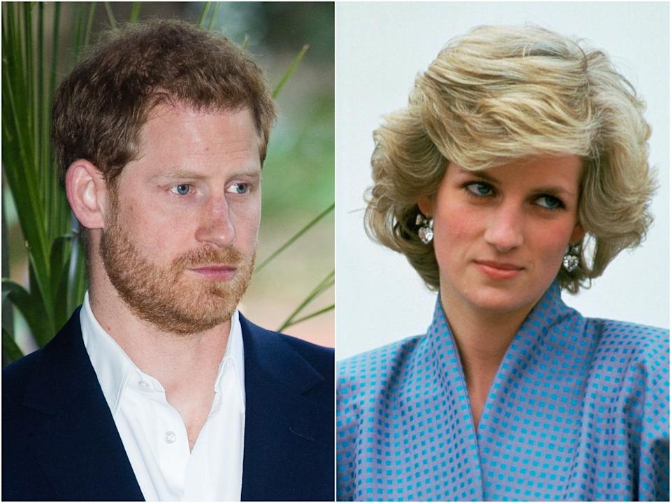 prince harry and princess diana collage