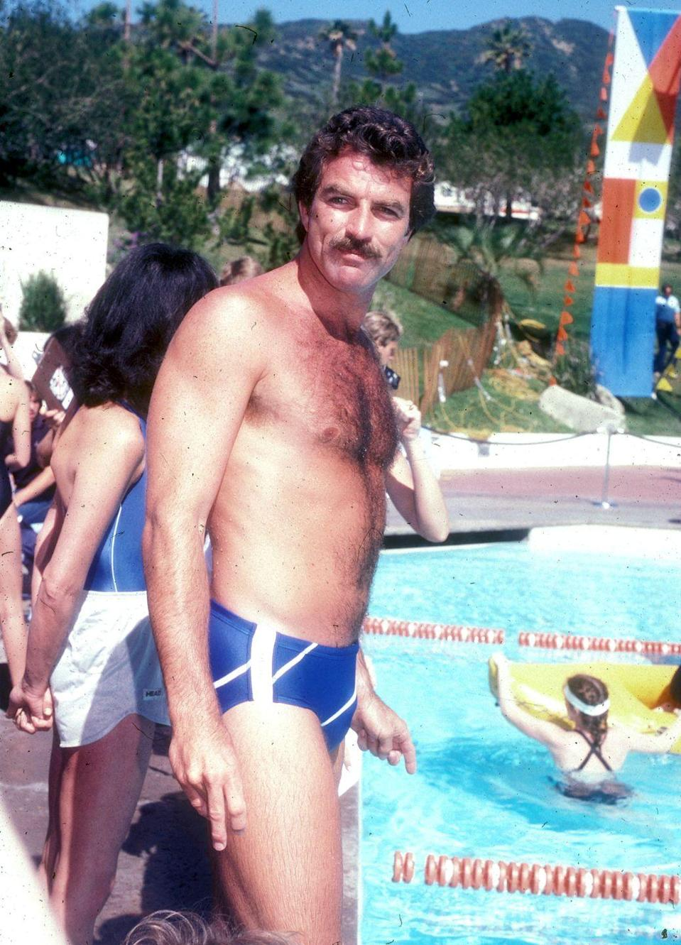 <p>Technically a speedo, but Selleck was the Summer King of the '80s. As always, his 'stache game is strong as well. </p>