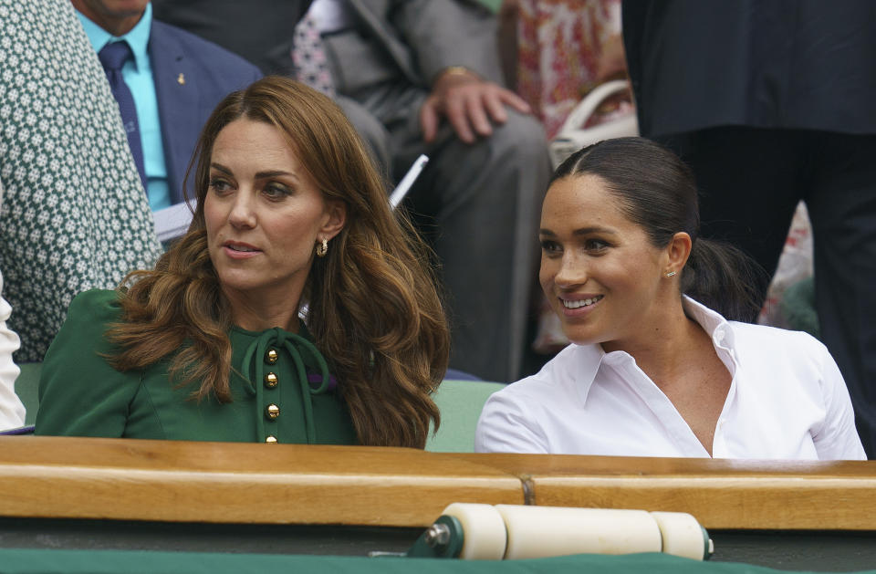 Jul 13, 2019; London, United Kingdom; HRH The Duchess of Cambridge and HRH The Duchess of Sussex look on during the womens final between Serena Williams (USA) and Simona Halep (ROU) on day 12 at the All England Lawn and Croquet Club. Mandatory Credit: Susan Mullane-USA TODAY Sports/Sipa USA