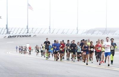 The Daytona Beach Half Marathon starts on the famed tri-oval track of Daytona International Speedway, goes to the beach and back, and is one of six top running races held in Daytona Beach, Florida during the winter season.