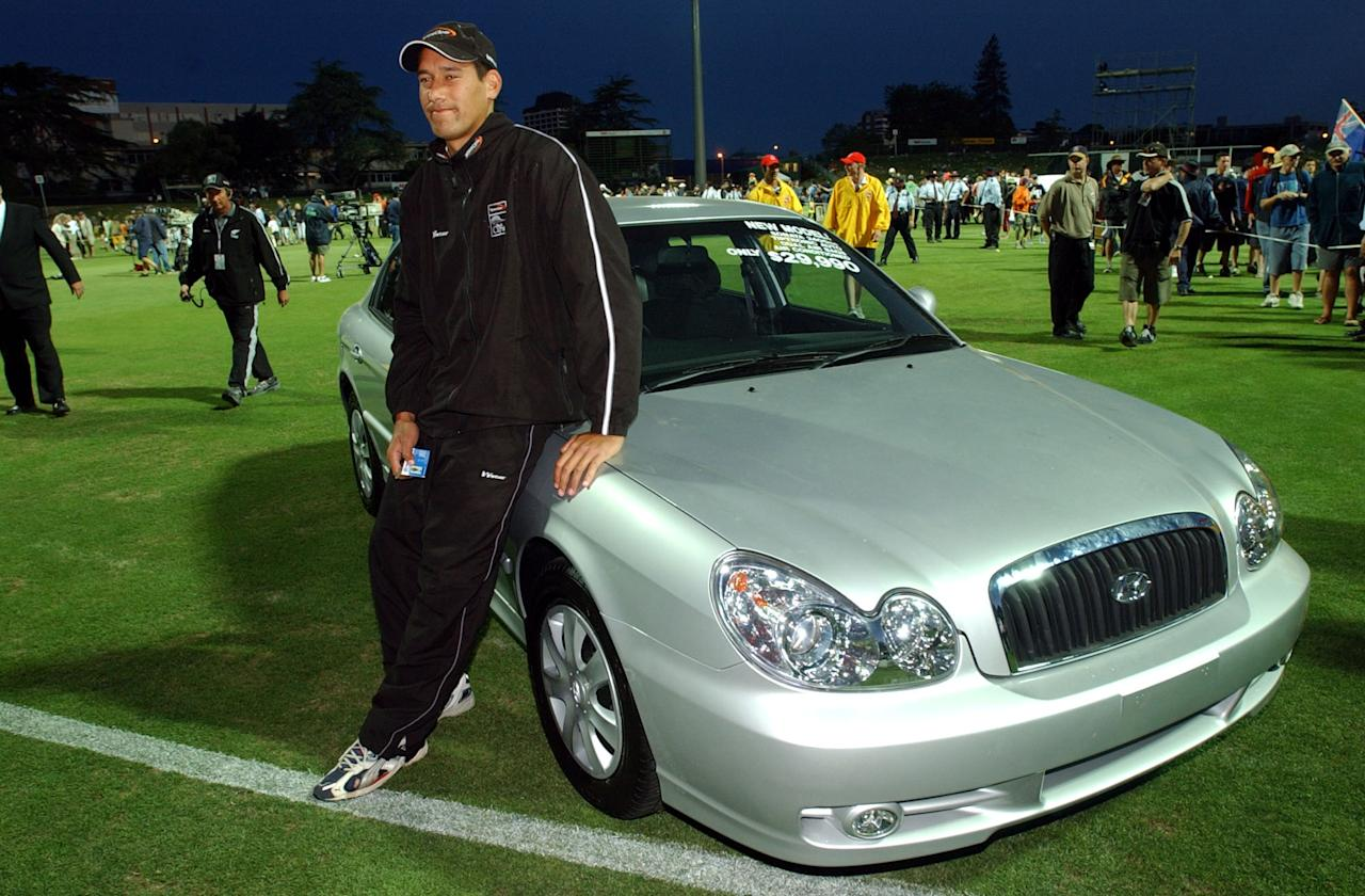 HAMILTON, NEW ZEALAND - JANUARY 14:  New Zealand Black Caps man of the series Daryl Tuffey with is new Hyundai Sonata after the 7th international one day cricket match between New Zealand and India played at Westpack Park, Tuesday. New Zealand won the game by 6 wickets.  (Photo by Dean Purcell/Getty Images)