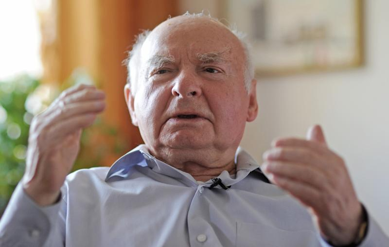 Warsaw Ghetto survivor Jakub Gutenbaum, 83, speaks to The Associated Press in Warsaw, Poland, Thursday, April 18, 2013. Many decades since the ghetto uprising, Jakub Gutenbaum still squirms at the thought of scalding-hot walls in the basement he was hiding, as houses overhead were on fire. Talking to The Associated Press on Thursday, the 83-year-old Gutenbaum recalls how German troops came into his hiding place and forced everyone out at gunpoint. Gutenbaum, his mother and little brother, lived through the horror of the uprising, an against-all-odds-revolt by hundreds of lightly armed Jewish fighters against a much larger Nazi force that broke out 70 years ago on Friday. (AP Photo/Alik Keplicz)