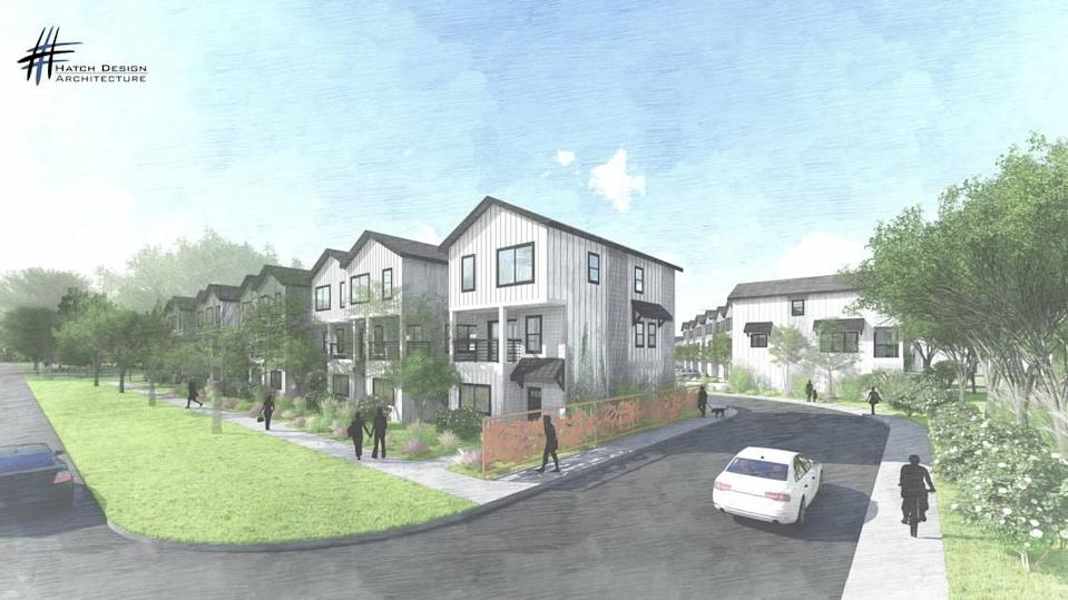A rendering of the proposed State Street Townhomes, as viewed from West State Street in Garden City. The project would include duplexes and townhouses.