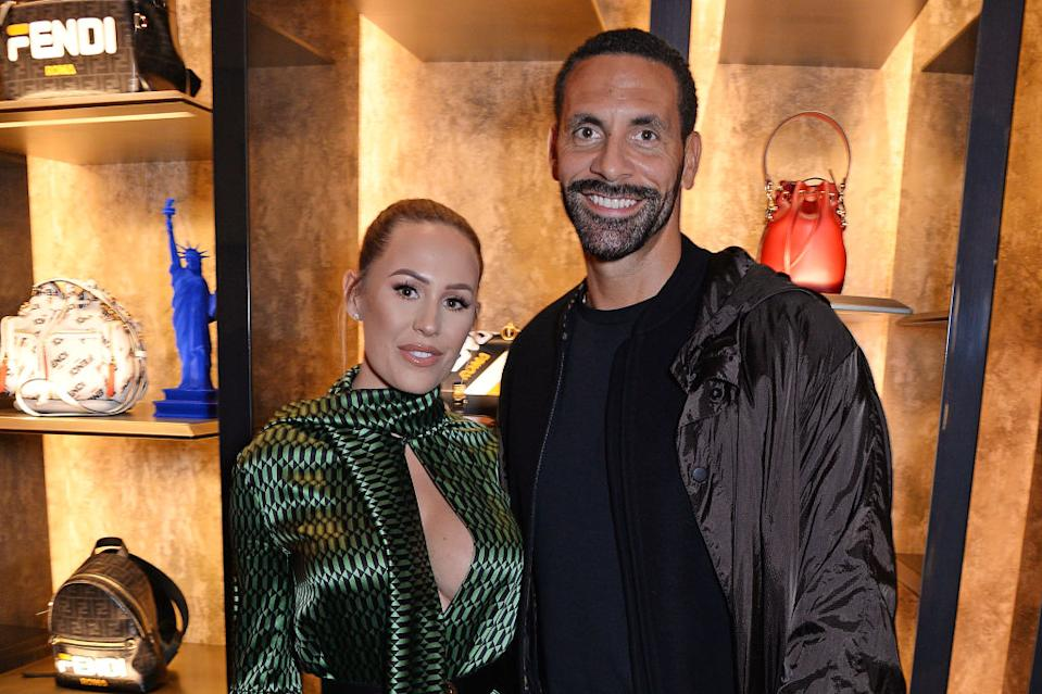 Kate Ferdinand has revealed she recently tore her stomach muscles during pregnancy, pictured with her husband Rio Ferdinand in October 2018. (Getty Images)