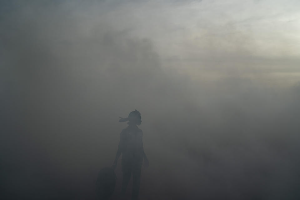 A woman working on a fish processing site walks through the thick smoke coming from burning peanut shells used to cure fish on Bargny beach, some 35 kilometers (22 miles) east of Dakar, Senegal, Wednesday April 21, 2021. In Bargny and other coastal villages of Senegal, traditional fishing and processing of the catch is a livelihood and a pride. Methods have been passed down through generations. Women work as processors — drying, smoking, salting and fermenting the catch brought home by men. (AP Photo/Leo Correa)
