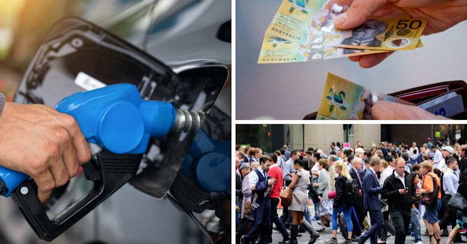 A person fills up their car petrol tank, a person removes $50 notes from their wallet and a group of people crossing the street.