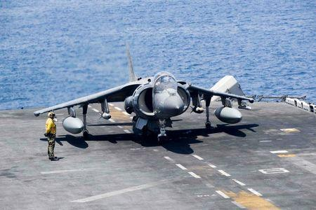 An AV-8B Harrier II prepares to launch from the amphibious assault ship USS Boxer to conduct missions in support of Operation Inherent Resolve (U.S. military's operational name for the intervention against the Islamic State of Iraq and the Levant, ISIL), in the Arabian Gulf, June 16, 2016. Mass Communication Specialist 3rd Class Brett Anderson/U.S. Navy/Handout via Reuters