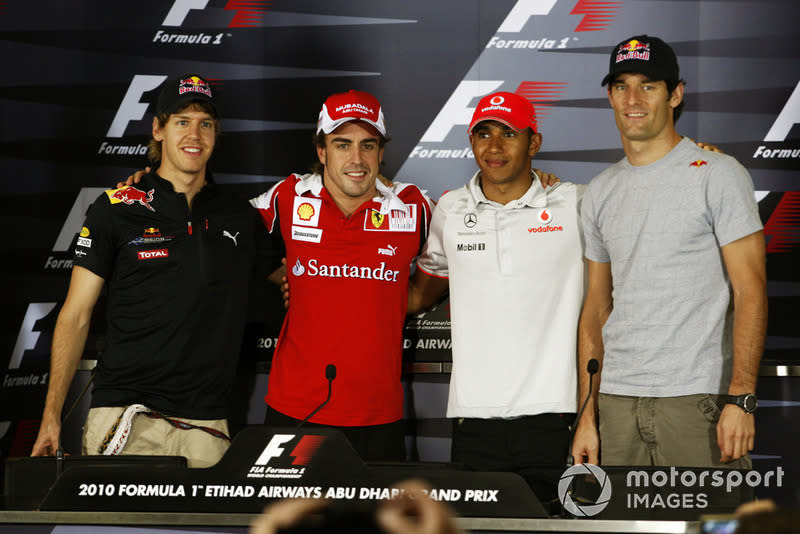 "Sebastian Vettel, Red Bull Racing, Fernando Alonso, Ferrari, Lewis Hamilton, McLaren, Mark Webber, Red Bull Racing<span class=""copyright"">LAT Images</span>"