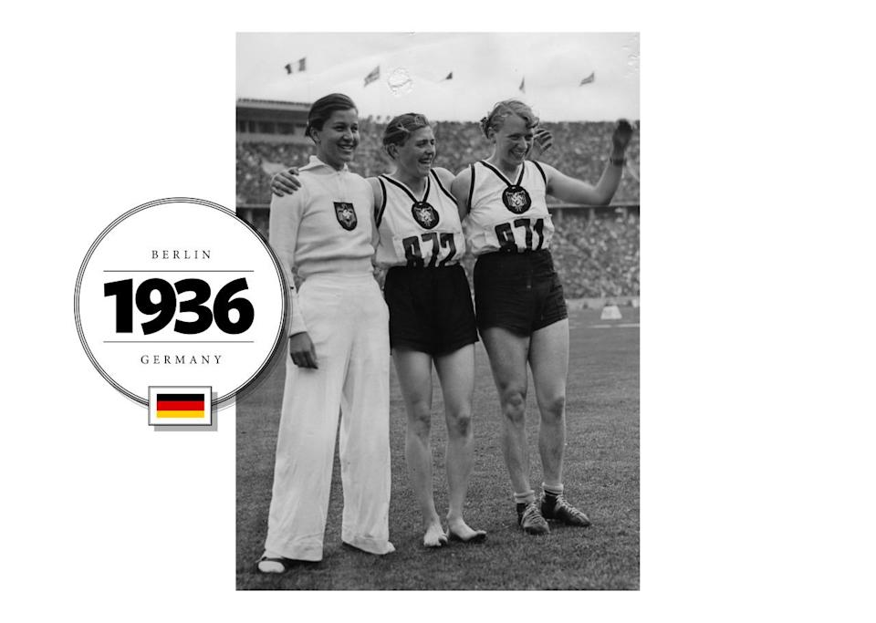 While at the 1936 Summer Olympics, athletics expanded so that there were 23 events for men and 6 for women. The women at this time wore a range of modest uniforms, like Germany's field uniform (seen on the left), which included high-waisted trousers and a knit sweater, worn over a collared shirt. (Getty Images)