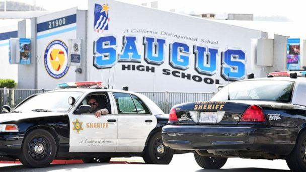 PHOTO: An officer from the Los Angeles Sheriff's Department sits in a vehicle in front of Saugus High School, Nov. 15, 2019, in Santa Clarita, Calif. (Frederic J. Brown/AFP/Getty Images)