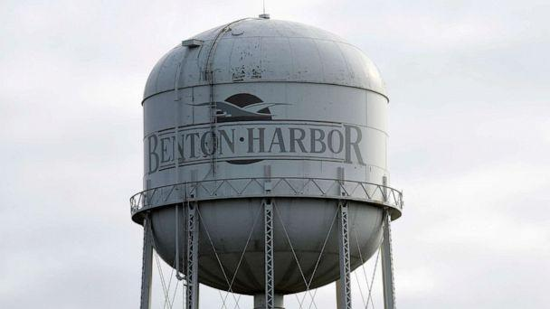PHOTO: A water tower is pictured, Oct. 24, 2018, near downtown Benton Harbor, Mich. (Don Campbell/The Herald-Palladium via AP, FILE)