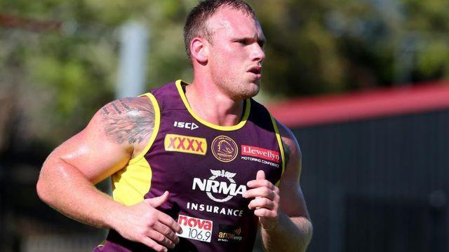 Lodge training with the Broncos. Image: AAP