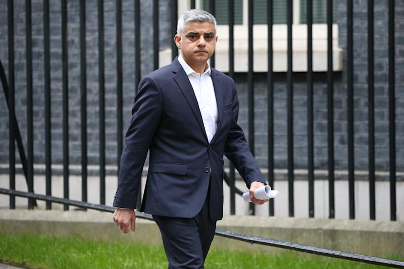 Mayor of London, Sadiq Khan leaves Downing Street as the government is expected to publish an emergency coronavirus powers Bill. (Photo by Jonathan Brady/PA Images via Getty Images)