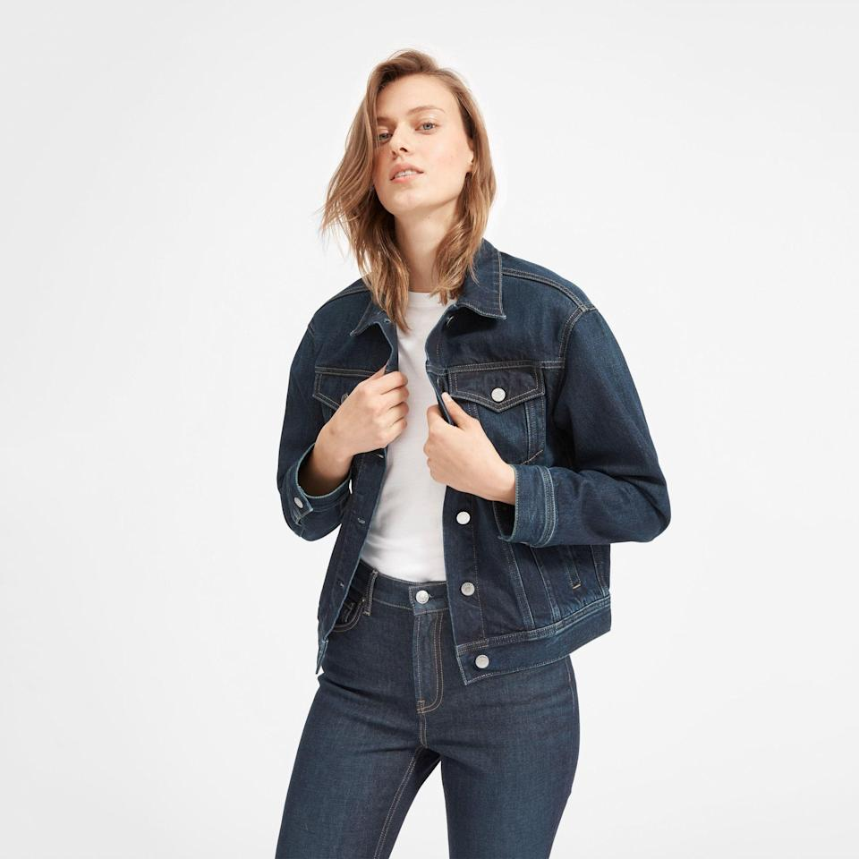 "<p><strong>Everlane</strong></p><p>everlane.com</p><p><strong>$88.00</strong></p><p><a href=""https://go.redirectingat.com?id=74968X1596630&url=https%3A%2F%2Fwww.everlane.com%2Fproducts%2Fwomens-denim-jacket-vintagedarkbluewash&sref=https%3A%2F%2Fwww.marieclaire.com%2Ffashion%2Fstreet-style%2Fg33444473%2Fbest-jean-jackets-for-women%2F"" rel=""nofollow noopener"" target=""_blank"" data-ylk=""slk:SHOP IT"" class=""link rapid-noclick-resp"">SHOP IT </a></p><p>Don't overthink it. Layering your denim over your trusty hoodie is just what your wardrobe called for on a Saturday morning coffee run.</p>"