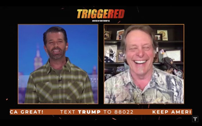 Donald Trump Jr., left, and Ted Nugent