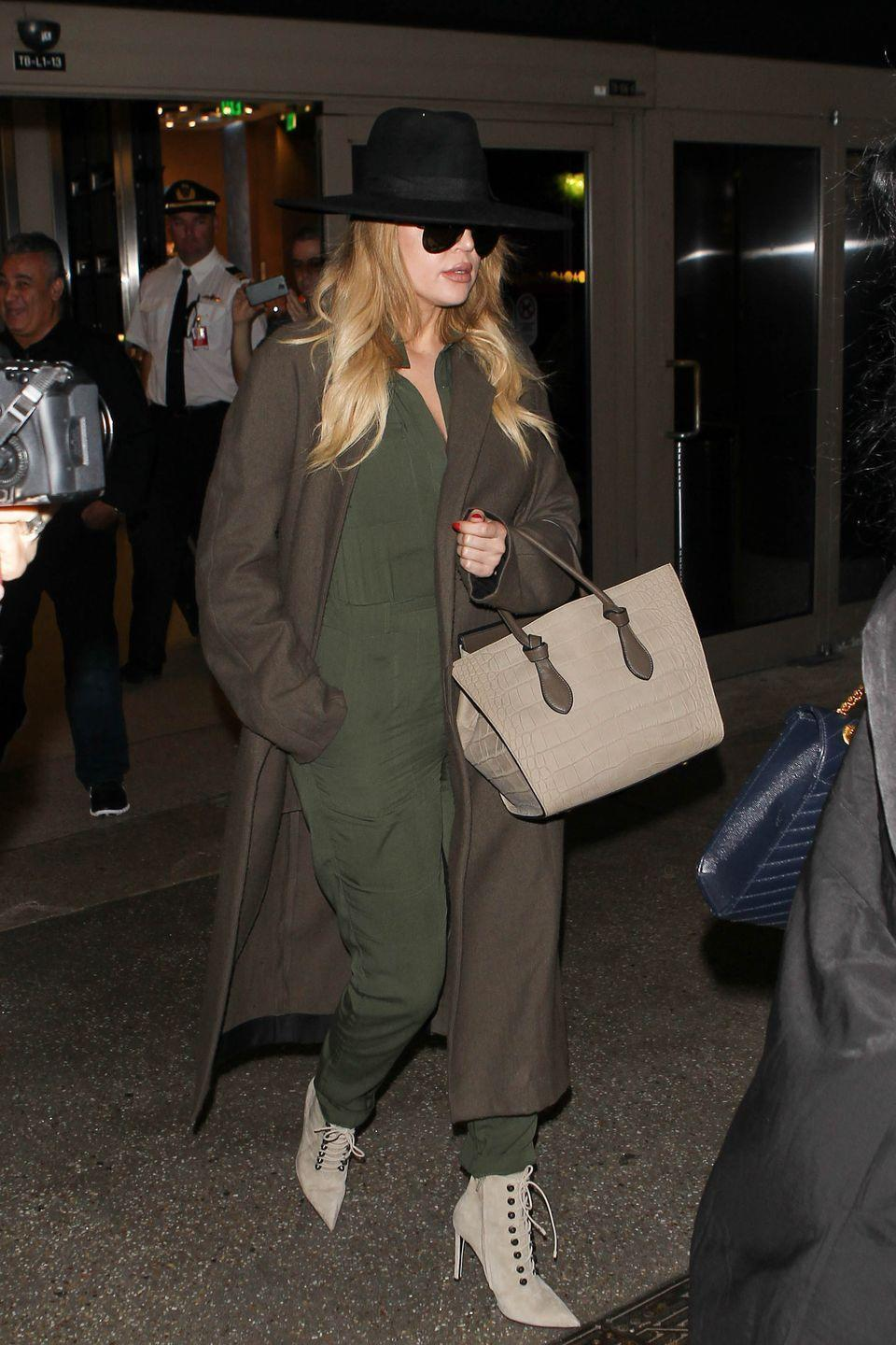 <p><strong>Khloé Kardashian, 2015</strong>: I get it: jumpsuits SEEM like practical airplane wear, very <em>Top Gun</em>-y and sporty and casual chic! But then you have to pee and you're topless in an 2x2 plane bathroom or gross airport stall with your sleeves around your ankles and...never again.</p>