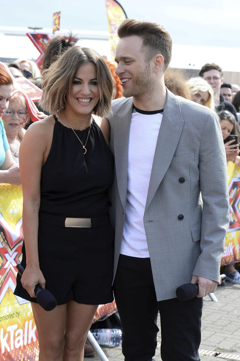 "February 15th 2020 - Caroline Flack - English television presenter dies by suicide at age 40. - File Photo by: zz/KGC-246/STAR MAX/IPx 2015 5/10/15 Olly Murs and Caroline Flack host open auditions for ""The X Factor"". (Manchester, England, UK)"