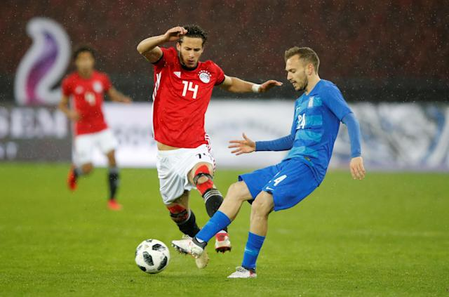 Soccer Football - International Friendly - Egypt vs Greece - Stadion Letzigrund, Zurich, Switzerland - March 27, 2018 Egypt's Ramadan Sobhi in action with Greece's Michalis Bakakis REUTERS/Arnd Wiegmann