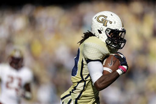 Georgia Tech wide receiver Anthony Autry runs for a touchdown on a pass by quarterback Vad Lee, not pictured, during the second quarter of an NCAA college football game against Boston College, Saturday, Oct. 20, 2012, in Atlanta. (AP Photo/David Goldman)