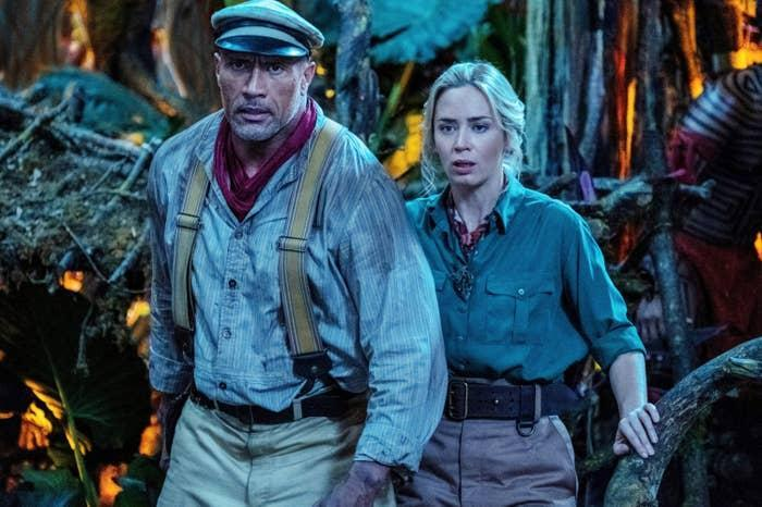 Dwayne and Emily side by side in a scene from Jungle Cruise