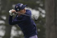 Justin Thomas hits from the 15th tee during practice for the PGA Championship golf tournament at TPC Harding Park in San Francisco, Tuesday, Aug. 4, 2020. (AP Photo/Jeff Chiu)