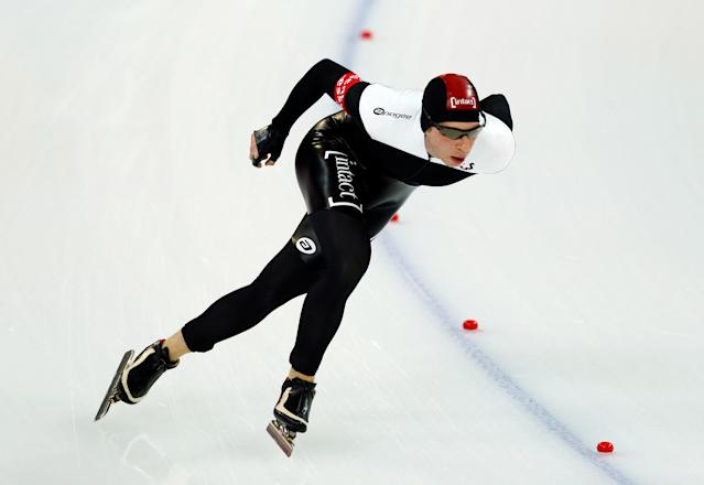FILE PHOTO: Jordan Belchos of Canada competes during the men's 5000m event at the Essent ISU World Single Distances Championships 2013 in Sochi, Russia March 22, 2013. REUTERS/Grigory Dukor/File Photo