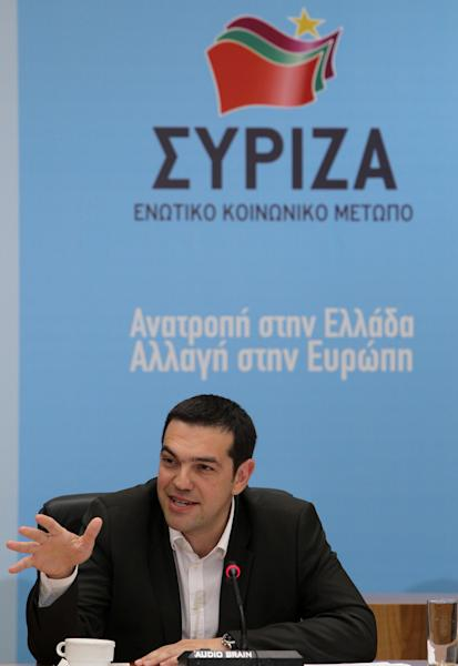 Head of Greece's radical left-wing Syriza party Alexis Tsipras speaks in Athens, Tuesday, June 12, 2012. Tsipras, whose party came a surprise second in inconclusive May 6 elections, said he would stick to his pledge to tear up Greece's bailout deal, saying the austerity the country has been forced to impose in return for billions of euros in rescue loans was leading Greece towards collapse. (AP Photo/Petros Karadjias)