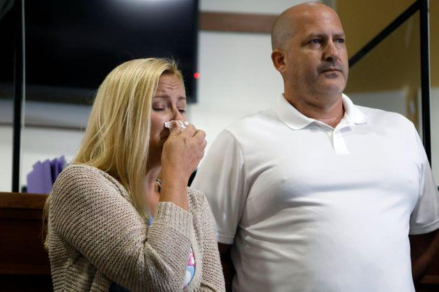 Gabby Petito's stepmother, Tara Petito, and father, Joe Petito, during a news conference Thursday about her disappearance. (Photo: Octavio Jones via Getty Images)