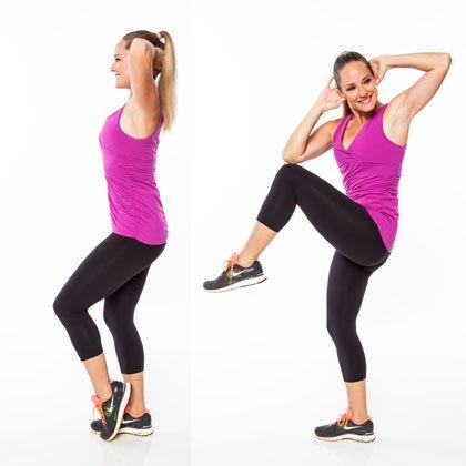 <p>Stand with feet together, knees slightly bent, hands behind head, and left heel lifted. Brace abs in tight and lift left knee up as right shoulder rotates towards knee (try to touch). Lower back to start.</p> <p><strong>Do 20 reps per side.</strong></p>