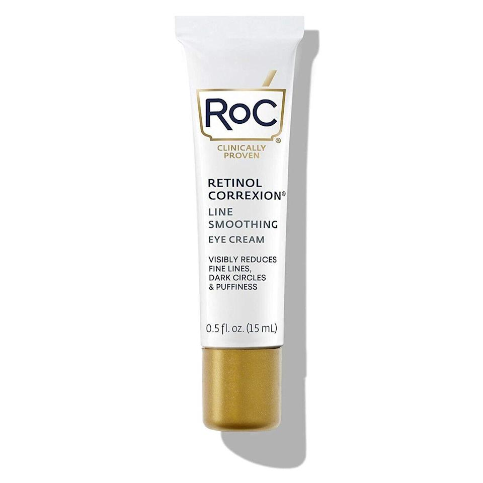 """<a href=""""https://www.allure.com/gallery/best-retinoids-under-30?mbid=synd_yahoo_rss"""" rel=""""nofollow noopener"""" target=""""_blank"""" data-ylk=""""slk:Retinol near your eyes"""" class=""""link rapid-noclick-resp"""">Retinol near your eyes</a> sounds scary, but with this gentle cream you've got nothing to fear. <a href=""""https://www.allure.com/review/roc-retinol-correxion-eye-cream?mbid=synd_yahoo_rss"""" rel=""""nofollow noopener"""" target=""""_blank"""" data-ylk=""""slk:RoC Retinol Correxion Eye Cream"""" class=""""link rapid-noclick-resp"""">RoC Retinol Correxion Eye Cream</a>, an ophthalmologist-tested 2020 <a href=""""https://www.allure.com/gallery/best-of-beauty-skin-care-product-winners?mbid=synd_yahoo_rss"""" rel=""""nofollow noopener"""" target=""""_blank"""" data-ylk=""""slk:Best of Beauty Award"""" class=""""link rapid-noclick-resp"""">Best of Beauty Award</a> winner, slowly releases the vitamin A derivative to fight fine lines around your eyes. And because it also contains hyaluronic acid, it does all this with lots of hydration."""
