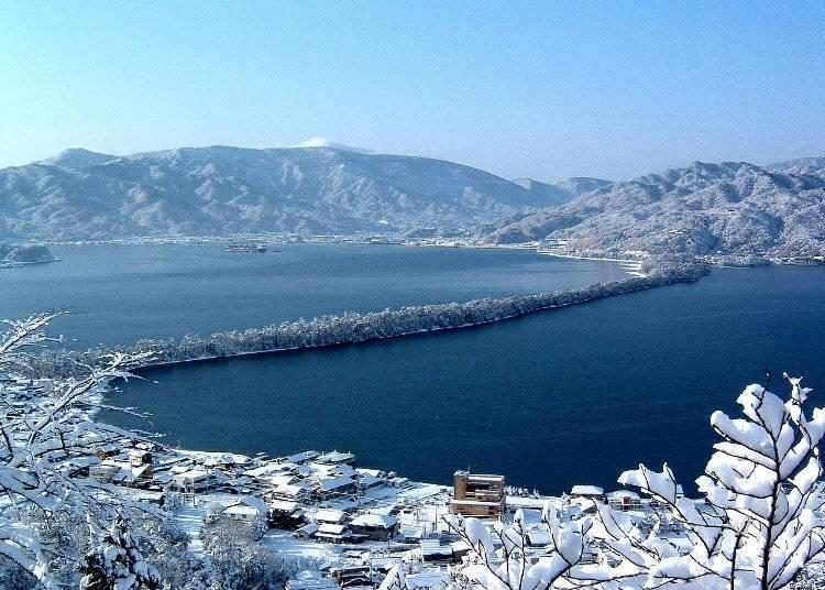 A panoramic view of Hashidate from Kasamatsu Park Observatory in the north