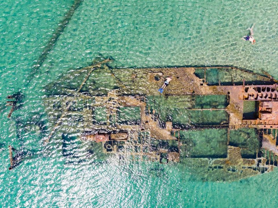 Aerial view of the shipwreck beach of Epanomi near Potamos and sandbank beach in a nature reserve. Epanomi is a little town near Thessaloniki, Greece. The shipwreck beach is less than 20km away of the airport Makedonia and 30 km away from Thessaloniki city, in northern Greece. The beach is sandy, the water is crystal clear. Mostly locals visit this beach us it is not widely known yet. The last kilometer is a dirt road and there are even sand dunes with nudist beach nearby. About a kilometer southern are organized beaches with many beach bars. (Photo by Nicolas Economou/NurPhoto)