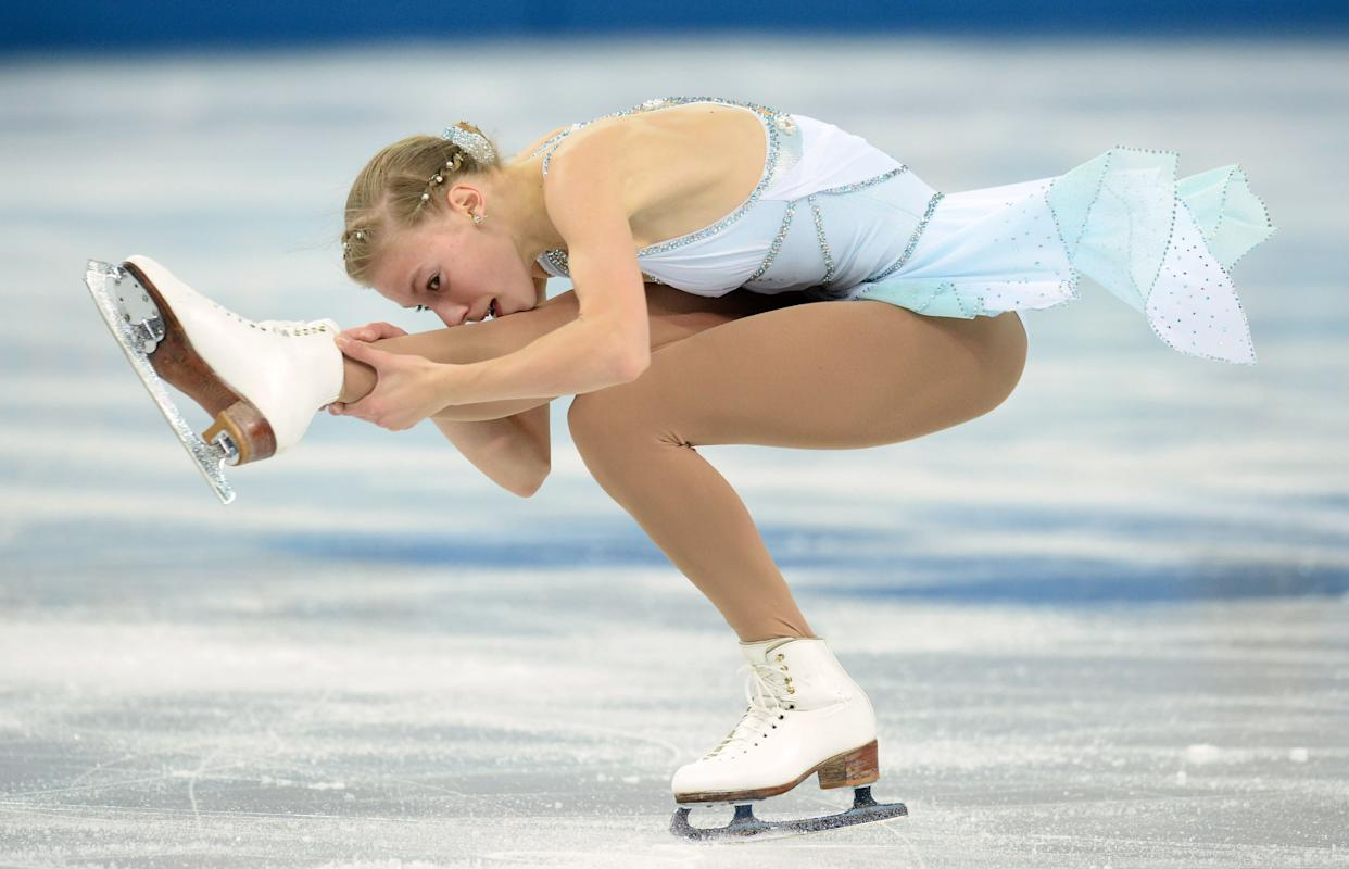 Polina Edmunds of the United States performs in the Women's Figure Skating Free Program at the Iceberg Skating Palace.