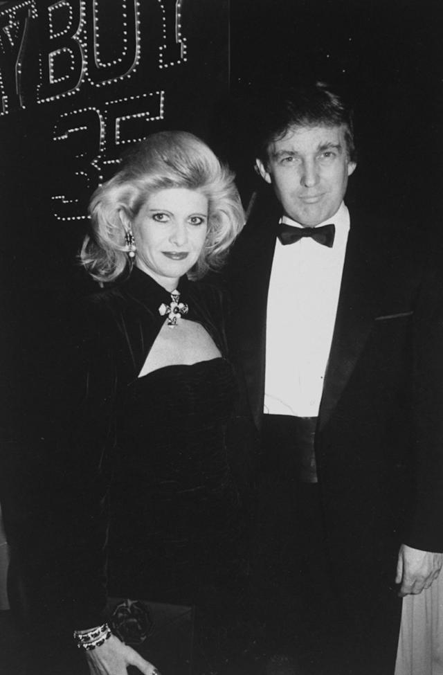 <p>Real estate developer Donald Trump with wife Ivana attend a party for 35th anniversary of <em>Playboy</em> on Dec. 1, 1988. (Photo: Robin Platzer/Twin Images/The Life Images Collection/Getty Images) </p>
