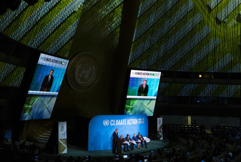 Turkey's President Recep Tayyip Erdogan speaks during the Climate Action Summit 2019 at the 74th session of the United Nations General Assembly, at U.N. headquarters, Monday, Sept. 23, 2019. (AP Photo/Craig Ruttle)
