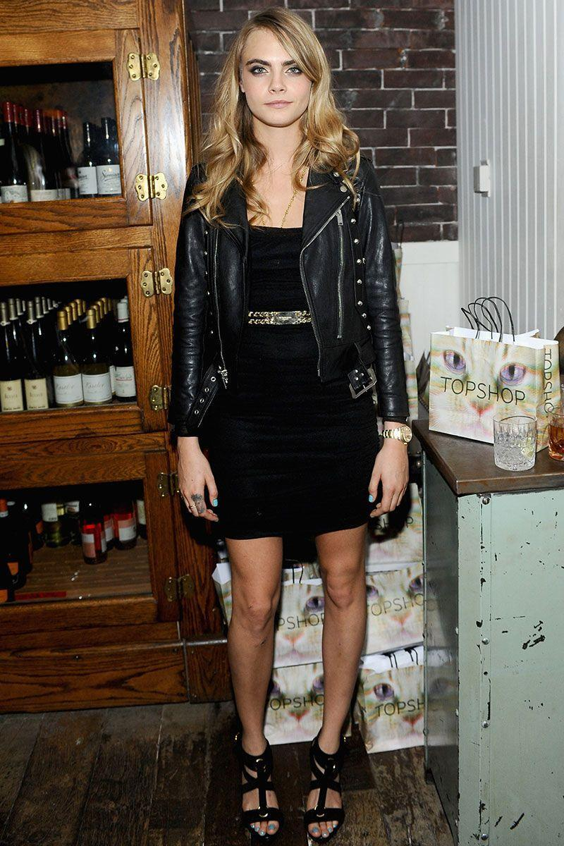 <p>Cara Delevingne turned a simple LBD into a rocker chic get-up simply by adding a belt and leather jacket for <em>The Face of an Angel</em> premiere party. </p>