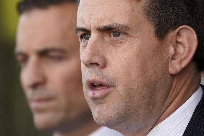 Jesse Binnall, an attorney for the Trump campaign, speaks at a news conference Tuesday, Nov. 17, 2020, in Las Vegas. (AP Photo/John Locher)