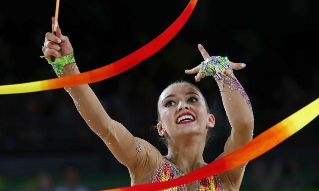 Rhythmic Gymnastics - Gold Coast 2018 Commonwealth Games - Individual Ribbon Final - Coomera Indoor Sports Centre - Gold Coast, Australia - April 13, 2018. Alexandra Kiroi-Bogatyreva of Australia. REUTERS/David Gray