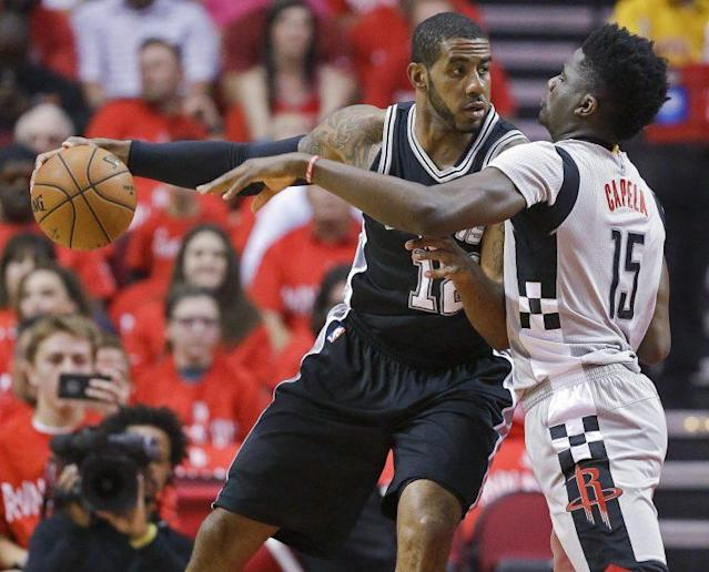 "<a class=""link rapid-noclick-resp"" href=""/nba/players/4130/"" data-ylk=""slk:LaMarcus Aldridge"">LaMarcus Aldridge</a> starred to put the Spurs into the Western Conference Finals. (AP)"
