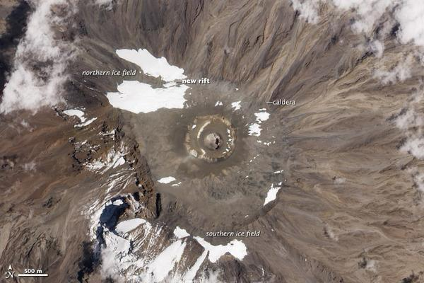 The largest remaining ice field on Kilimanjaro shrank and separated into two pieces, a research expedition discovered in September. The gap is visible in an image acquired by the Advanced Land Imager on NASA's Earth Observing-1 satellite on Oct