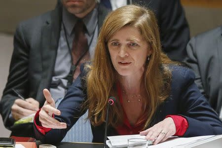 U.S. Ambassador to the U.N. Power addresses to members of the U.N. Security Council during a meeting about Ukraine situation, at the U.N. headquarters in New York